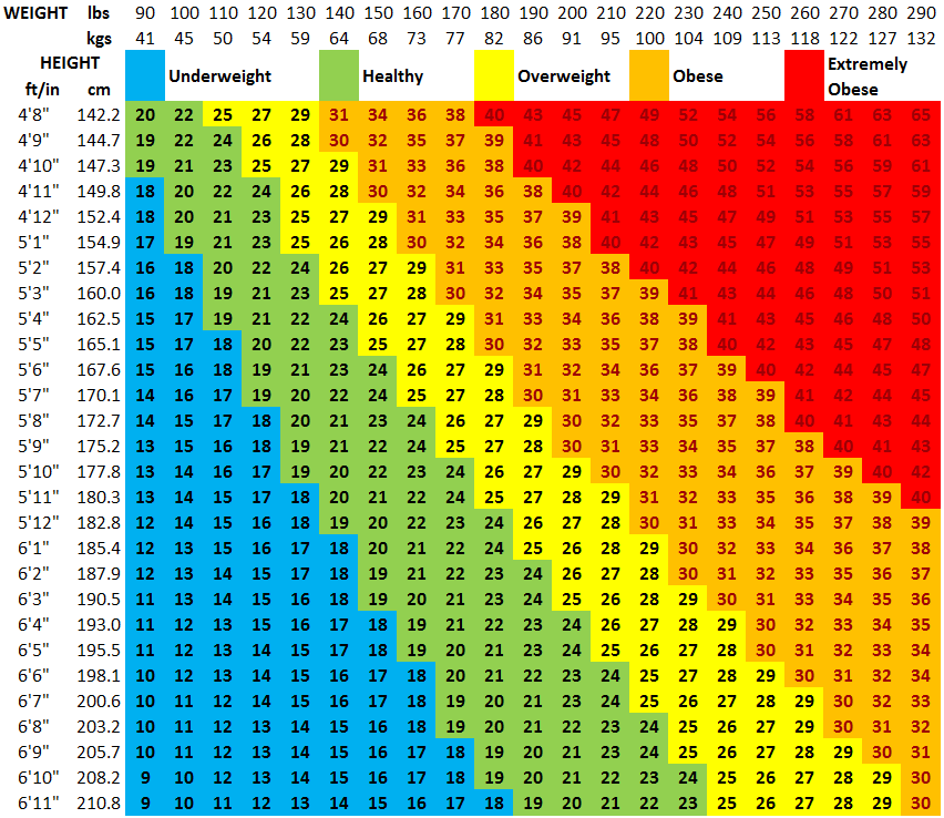 fitness plan for beginners how to use the BMI table to determine your ideal weight