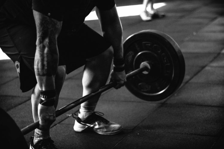 deadlift with barbell black and white